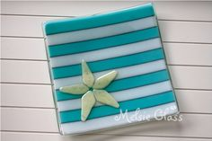 Beachy Starfish glass plate Sea Life Series by melsieglass on Etsy