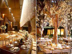 mesas coletivas, penduricalhos no teto, árvores, td que eu sempre sonhei num casamento só!