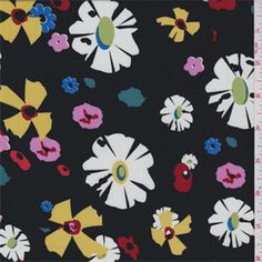 Black Floral Challis - 30594 - Fabric By The Yard At Discount Prices