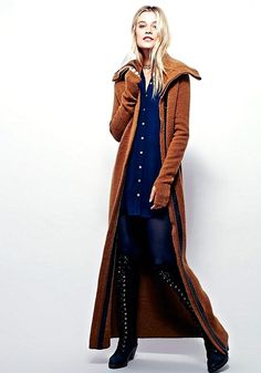 Free People X Nicholas K brown gold ( spice ) Athena Maxi Sweater Coat. Cozy and super warm, thick, lust with stretch maxi sweater coat featuring a hidden front zip. Statement collar and thumbhole detailing on the cuffs.   eBay!