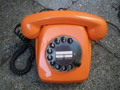 Vintage RETRO ORANGE téléphone rotatif faite par JAZZLIPSVINTAGE