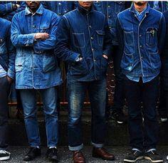 Jeans on jeans Rugged Style, Vintage Denim, Vintage Air, Raw Denim, Denim Jeans, Blue Denim, Men Street, Street Wear, Style Brut