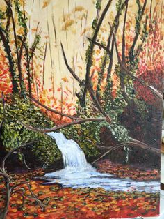Ann Cremisio  joined our group and is having a blast paint the different lessons. Love the fall f foliage and running stream.