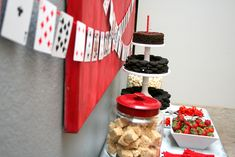 Las Vegas Theme Party | Classy Casino Night Party Food Ideas....  thinking of painting large canvas in red as art.