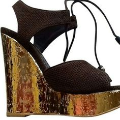 Saint LaurenSpring Platform Gold Chocolate Strapp This size fit more like 9 to size 9.5  Unique pair. 100% authentic. Chocolate brown linen upper with neutral gold platform. The details are gorgeous. Worn one time. Great price! Collectible piece They could fit size  ( 9 to size 10 as well.)  Condition: Like new Yves Saint Laurent Shoes