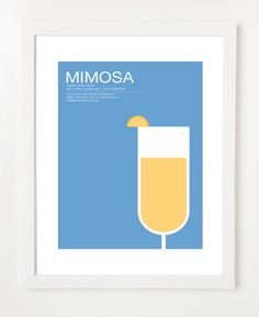Mimosa  - Cocktail Poster - Home Decor. $18.00, via Etsy.