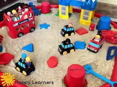 Transport Themed Sand Play / Tuff Tray / Ideas and Activities - Happy Learners Resources<br> Transportation Activities, Eyfs Activities, Nursery Activities, Activities For Kids, Tuff Tray Ideas Toddlers, Transport Topics, People Who Help Us, Sand Tray, Small World Play