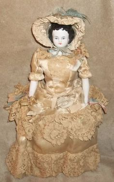 Estate ANTIQUE Victorian China Head Germany Doll w/ orig.? dress clothes unique&
