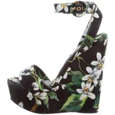 Pre-owned Dolce & Gabbana Floral Wedge Sandals ($275) ❤ liked on Polyvore featuring shoes, sandals, black, floral wedge sandals, floral print sandals, black sandals, black canvas shoes and multi color wedge sandals