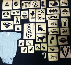 DIY baby boy onesies. These are the stencils I made for my friends baby shower. Made from freezer paper