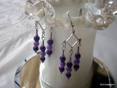 and Dark Purple and Silver Tri Drop Dangle Earrings Perfect for Valentine's Day! Share the love! by KLKEndeavors on Etsy Purple Glass, Little Bag, Diamond Shapes, Dark Purple, Hippie Boho, Bangle Bracelets, Dangle Earrings, Glass Beads, Great Gifts