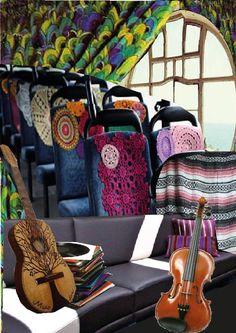 мудборд пространство 3. Внутри автобуса специально предназначенного для певцов со всеми удобствами(другой вариант)