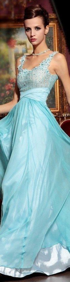Light Sky Blue Chiffon Lace Evening Dress Latest Women Fashion
