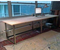 Long computer desk