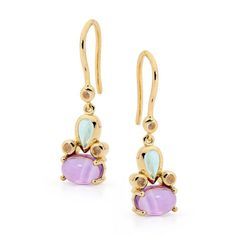 9ct gold Amethyst earrings with Blue Topaz & Rose Quartz - Designed in our Highlands studio by our creative team this earrings feature a candy coloured gemstones, set in 9 carat yellow gold. With a seamless marriage of vintage aesthetic and exquisite modern design.  Gemstone 2.5ct