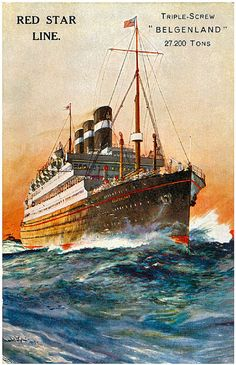 S S Belgenland Red Star Line reproduction promotional postcard