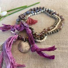 Wickelarmbänder - Extravagantes Traum Wickelarmband grau violette - ein Designerstück von Perlen-Kunst bei DaWanda