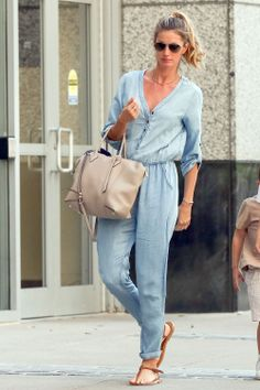 Gisele looks effortlessly chic in a chambray jumpsuit. Get her laidback look here.
