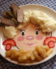 Platinum mashed potatoes with a pork tenderloin and green bean fascinator. Strawberry earrings and a fried apple muff