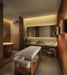 Wood elements, a classic look, clean and durable, indirect lights design interior massage This is a classic with wood elements Spa Design, Clinic Interior Design, Massage Room Decor, Spa Room Decor, Massage Table, Home Spa Room, Spa Rooms, Spa Treatment Room, Spa Treatments