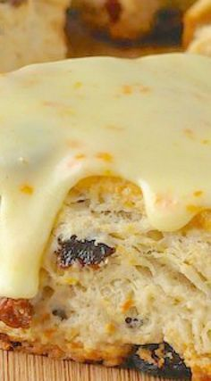 Orange Raisin Scones with Orange Glaze - tender English style scones infused with orange zest & packed with raisins, then topped with a tangy orange glaze. Baking Recipes, Cake Recipes, Dessert Recipes, Baking Scones, Bread Baking, Raisin Scones, Raisin Recipes, Orange Scones, Savory Scones