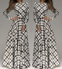 Vintage Round Neck Long Sleeve Plaid Maxi Dress For Women