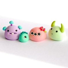 Marshmallow monsters and a baby ghost - Reserved listing for Julie