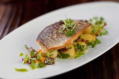 French Fine Dining Food Picture | Dourade with warm fingerling potato salad