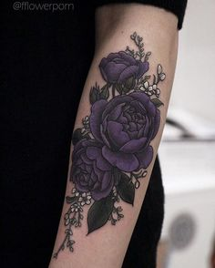 Image result for realistic purple rose tattoo cover up