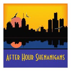 $1.80 - Shenanigans - Sunset skyline over water, illustrated in blue and gold. After Hour Shenanigans! Hostess a fun party for your Bachelorette! Send the Bride to Be off in style with these city life invitations! Customize with your venue of choice.