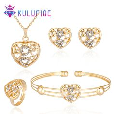 Lover Necklace Earrings Ring Bracelet set brinco Love jewelry sets jewellery grillz boucle d'oreille bisuteria bijoux turkish