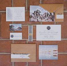 I kind of like the idea of having a graphic look to all of the paper products throughout the wedding (save the date, invitation, program, menu, etc). The picture with white overlay is fantastic. Would have a totally different image but same concept.