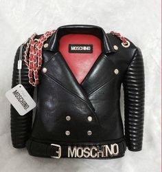 Moschino Biker Dress Womens Leather Satchel Black