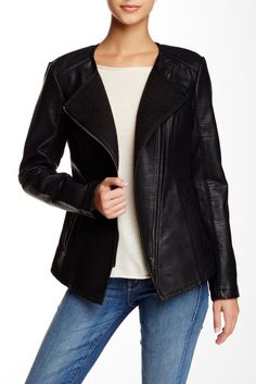 BNCI by Blanc Noir Sweater Bonded Faux Leather Moto Jacket - $69.97