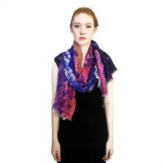 Cloud Print Wool Gauze Scarf.
