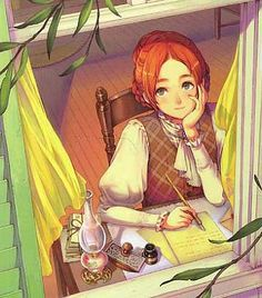 Lexi - an anime Anne! Illustration, Drawings, Anne Of Windy Poplars, Anne Of The Island, Art, Cartoon, Cover Art, Anne Of Green, Book Art