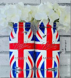 Union Jack Flag Mason Jars - Painted & Distressed in Red, White, Blue