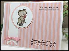 CREATIVE JUICE - Week - Can we talk about how stinkin' cute these cards are? If you know someone who has recently adopted a new puppy or kitten, you Pretty Cats, Pretty Kitty, Cool Sketches, New Puppy, Kids Cards, Stampin Up, Congratulations, Dog Cat, Adoption