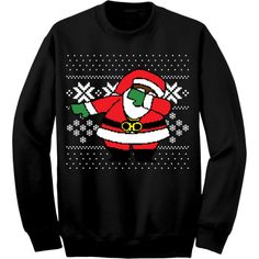 (Black) Dabbing Black Santa Ugly Christmas Sweater (No Weed) ($35) ❤ liked on Polyvore featuring tops, sweaters, black sweater, black christmas sweater, black top, christmas sweater and christmas tops
