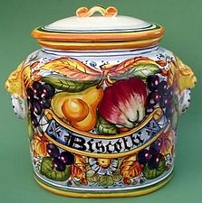 handmade hand painted authentic Frutta Toscana biscotti jar