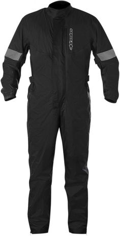 Alpinestars Hurricane Suit: Constructed from ultra-lightweight, PU coated 100% waterproof poly-nylon fabric that has been specially treated to avoid sticking when worn over textile or leather garments.  Light poly-mesh lining improved internal air circulation and comfort.  Velcro adjustments on the arms ensures close fit over outer garment.