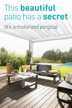 Create the perfect #outdoor oasis in your #backyard with a motorized #pergola! Click to learn more.