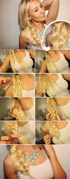 Summer Hairstyles for Long Hair: Messy Side Braid Side Braid Hairstyles, Step By Step Hairstyles, Braided Hairstyles Tutorials, Summer Hairstyles, Diy Hairstyles, Pretty Hairstyles, Hairdos, Braid Tutorials, Side Braid Tutorial