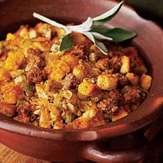 Cook up boxed cornbread the night before and there's hardly any work left come Thanksgiving Day—mix with sautéed sausage, celery and onion, add sage and chicken broth, and bake away.