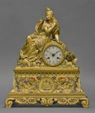 A Very Rare Chinoiserie Style Gilt-Bronze and Enamel Figural Clock
