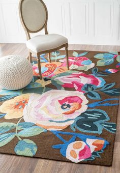 Aline Floral Collection Area Rug in Brown design by NuLoom
