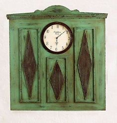 Shabby Chic home decor is elegant by using various painting and aging techniques resulting in charming home decor that can really pull a space together. shabby chic home decor beautifully marries together elements of old and new decorative accents to create my own unique home decor theme  Cottage Green 42'' Wall Clock   Architectural Carved Wood Rustic