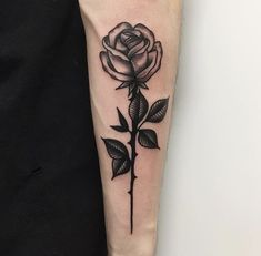 Rose tattoo men forearm small is one of the latest designs, which looks like a floral flower on men's forearm. These are very strong looking tattoos w. Simple Rose Tattoo, Rose Tattoo On Arm, Rose Tattoos For Men, Black Rose Tattoos, Back Tattoo, Tattoos For Guys, Black Rose Tattoo For Men, Tattoo Ribs, Tattoo Arm