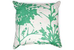 Green & White Lulu DK Linen Pillow