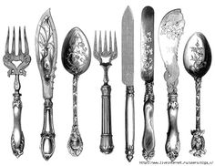vintage cutlery clipart, cutlery engraving, fork knife spoon graphic, black and white clip art, kitchen printable Vintage Labels, Vintage Ephemera, Vintage Images, Vintage Prints, Printable Vintage, Collages D'images, Service Assiette, Foto Transfer, Craft Ideas